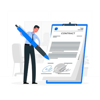 Signing a contractconcept illustration