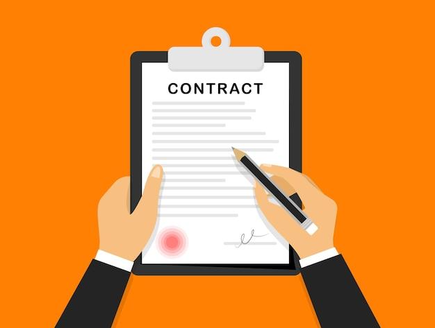 Подписание контракта руки держатся и подписывают деловой контракт