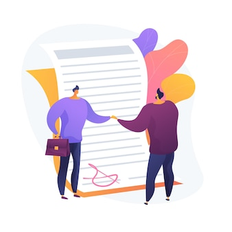 Подписание договора. официальный документ, договор, обязательство по сделке. герои мультфильмов бизнесменов, пожимая руки. юридический договор с подписью.