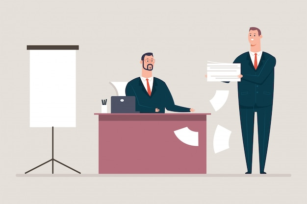Подписание документов и договоров. бизнесмен и мужчина секретарь мультипликационный персонаж. иллюстрация концепции офиса изолированная на предпосылке.