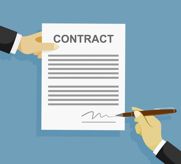 Signing sign contract paper document.
