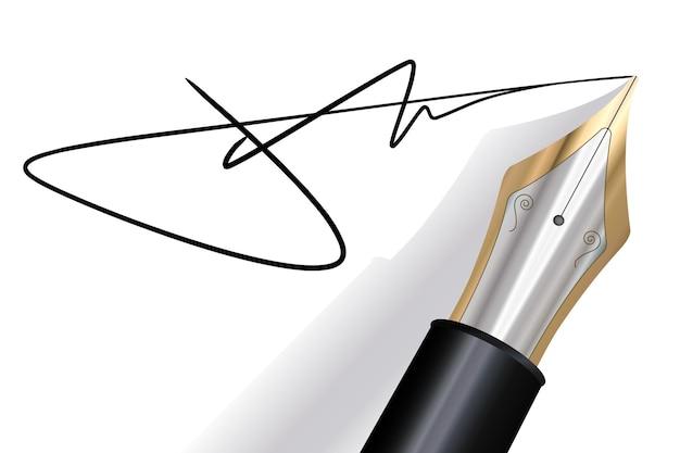 Подпись перьевой ручкой