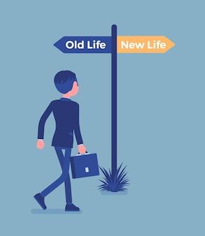 男、新旧の人生の選択を指示する道標ポール。道を選ぶ若者、別の道の始まり、人生を始めて変えるという決断を考えることは、違ったものになります。ベクトルイラスト