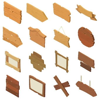 Signpost road wooden icons set. isometric illustration of 16 signpost road wooden vector icons for web
