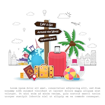 Signpost and travel objects, accessories and summer elements with luggage