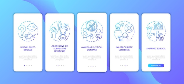 Signs of child abuse and neglect dark blue onboarding mobile app page screen with concepts. kids harassment walkthrough five steps graphic instructions. ui  template with color illustrations