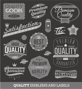 Signs, emblems and labels of quality and guaranteed