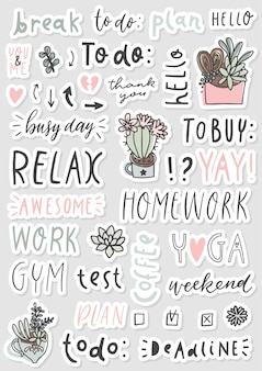 Signs and symbols for organized your planner
