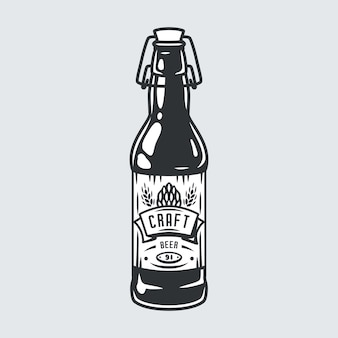 Sihluette of craft beer bottle with cap and label