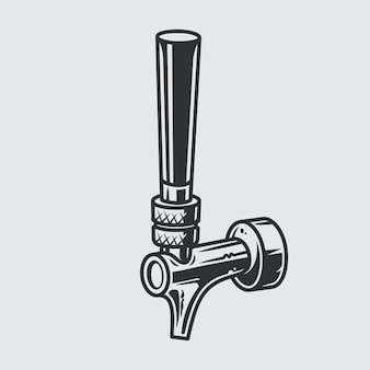 펍 바 메뉴 또는 로고를 위한 시원한 맥주 탭의 sihluette