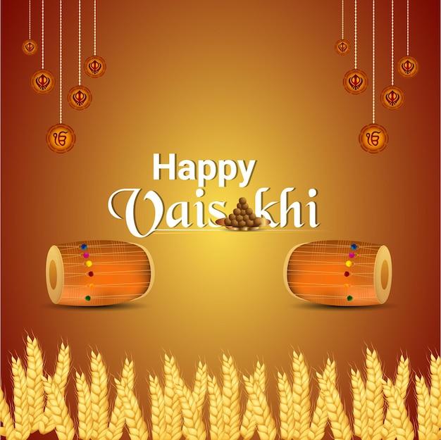 Sikh festival happy vaisakhi celebration greeting card and background