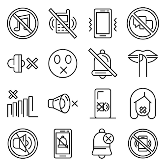 Silence icons set, outline style