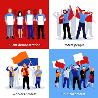플래 카드 확성기와 플래그 문자 자동 격리와 벡터 일러스트와 함께 침묵 데모 및 정치 항의 사람들