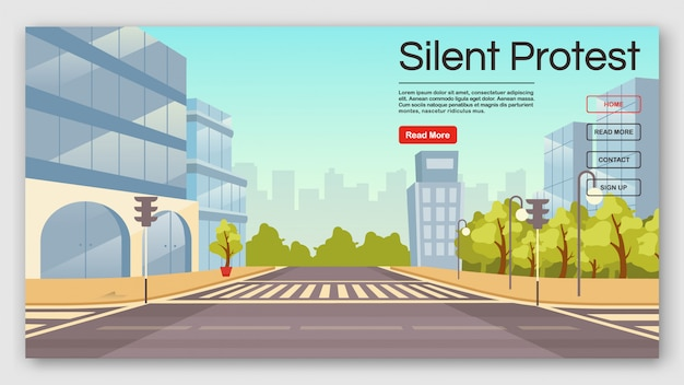Silent protest landing page vector template. democracy manifestation website interface idea with flat illustrations. stay quiet homepage layout.