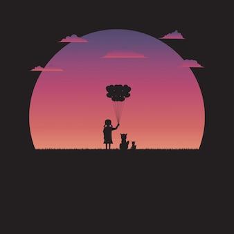 Silhouette девушка держа форму сердца воздушного шара и собаку