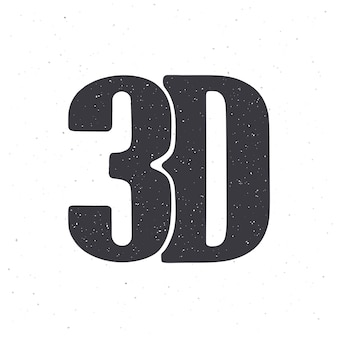 Silhouette of abbreviation 3d for threedimensional film vector illustration lettering style icon