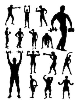 Silhouette of active man