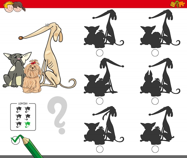 Silhouette activity game with dog characters