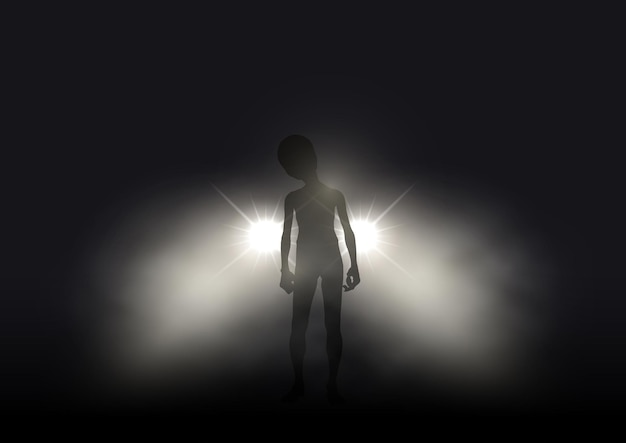 Silhouette of an alien lit up in car headlights on a foggy night