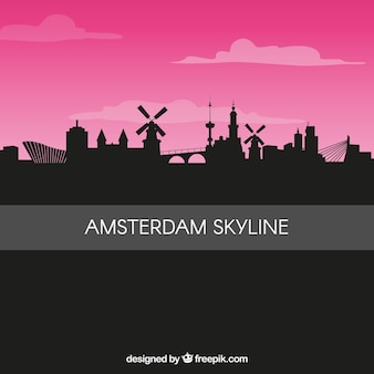 Silhouette amsterdam skyline background
