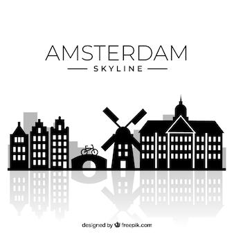 シルエットアムステルダムのスカイラインの背景
