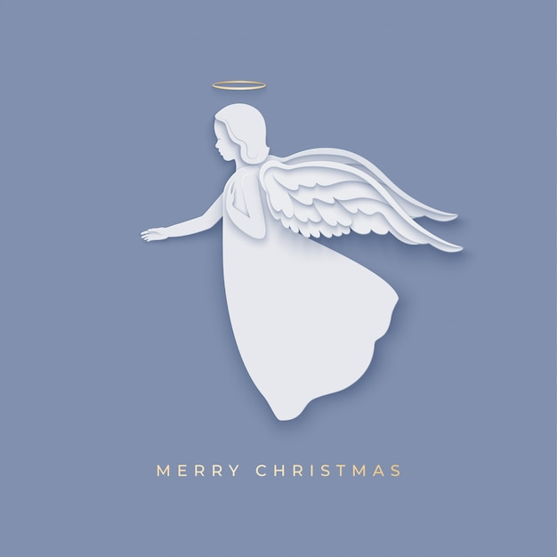 Silhouette of angel in paper cut style with shadow. merry christmas greetings