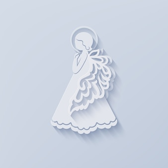 Silhouette of angel in paper cut style with shadow.