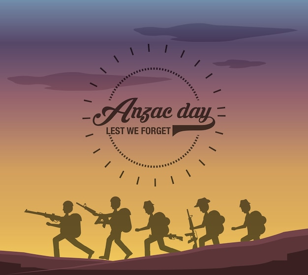 Silhouette of anzac soldiers