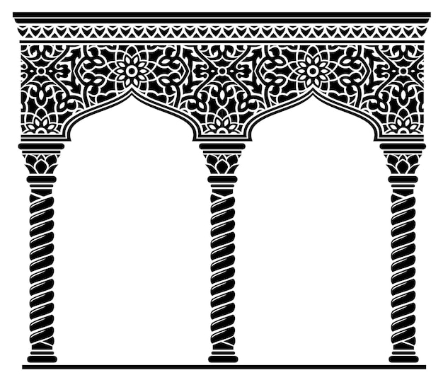 Silhouette of the arched eastern facade. fairytale oriental, indian or arabian arch, background for cover, invitation cards. vector graphics