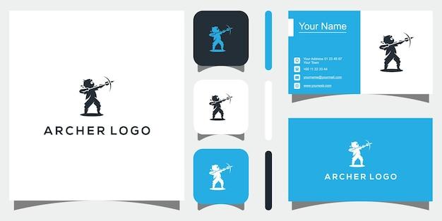 Silhouette archer logo premium vector