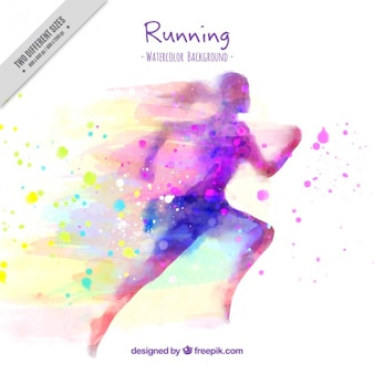 Silhouette background of watercolor woman running and splashes