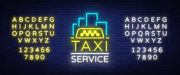 Silhouette badge glowing taxi.