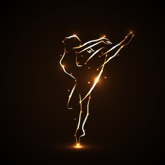 Silhouette of ballerina, dancers in movement on pointe and tutu. drawn by hand with a tracings of golden color with light on a black background. both arms and a leg lifted up.  icon.