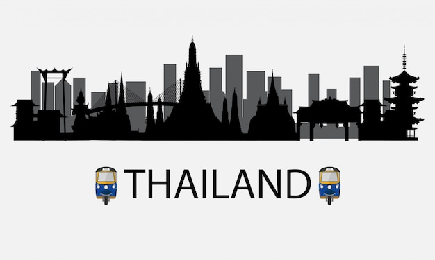 Silhouette to bangkok in thailand and landmarks and travel place