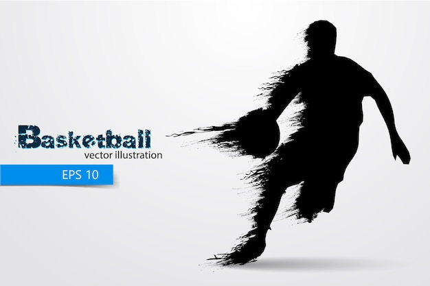 Silhouette of a basketball player.  illustration