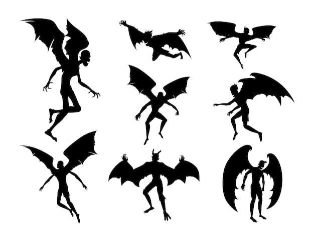 人体のシルエットバットデビル。別の姿勢でコウモリの翼を持つ男性の精神。ドラキュラモンスターとハロウィーンのテーマのファンタジーについての図。