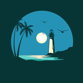 Silhouette of beach and lighthouse illustration