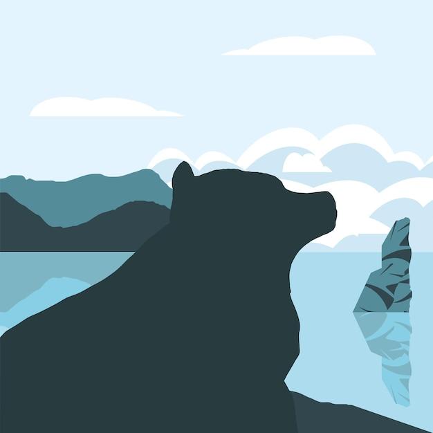 Силуэт медведь озеро лес