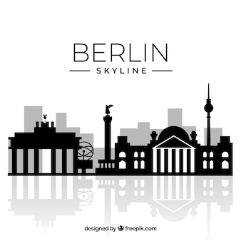 Silhouette berlin skyline background