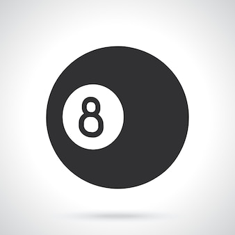 Silhouette of billiard ball number eight sports equipment vector illustration