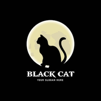 Silhouette of black cat and moon. elegant seated side view of cat with head turned.