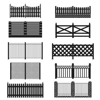 庭、家、農場を保護するための白い背景の障壁に分離されたシルエットの黒い柵のアイコンセット