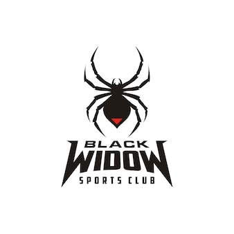 Silhouette black widow spider insect arthropod emblem sport logo