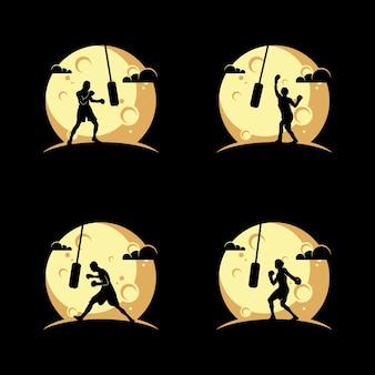 Силуэт дизайн логотипа бокса