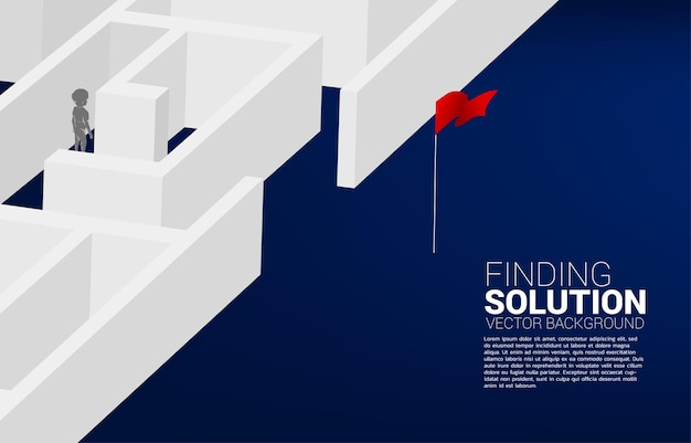 Silhouette of boy find the way to exit the maze. concept of education solution and future of children.