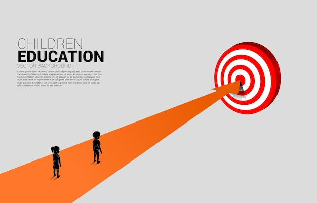 Silhouette of boy and girl standing on route path to targeting. concept of education solution and future of children.