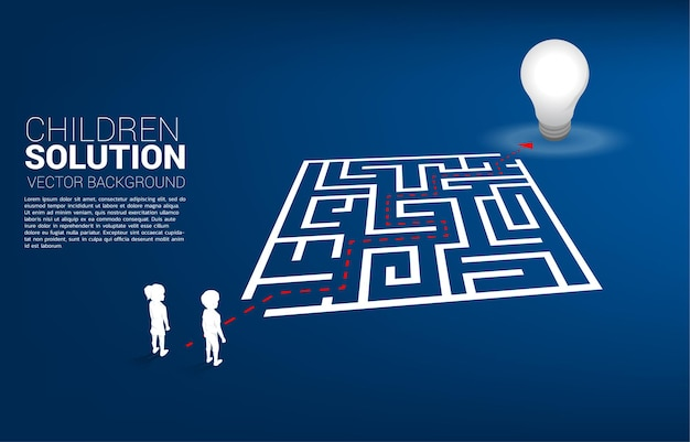 Silhouette of boy and girl with route path to exit the maze to light bulb. concept of education solution and future of children.