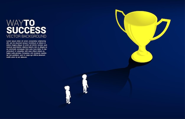 Silhouette boy planning to get trophy. concept of education solution and future of children.