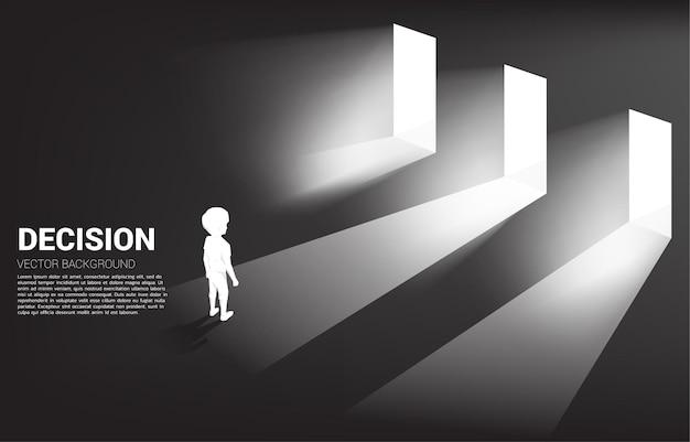 Silhouette of boy standing in front of door with light