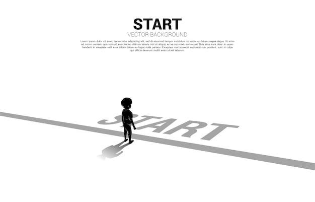 Silhouette of boy standing at start line